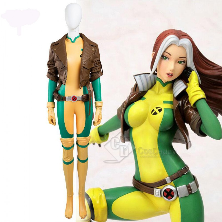 X-Men Superhero Rogue Anna Marie Jumpsuit Uniform Cosplay Costume Halloween