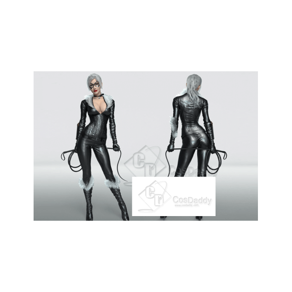 Catwoman Selina Kyle Cosplay black body jumpsuit f...