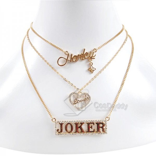 CosDaddy Suicide Squad Harley Quinn Sexy Sequin Shinning Mini  Golden&Silvery Necklace for Halloween&Christmas