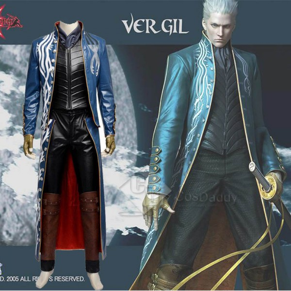 Devil May Cry 3 DMC3 Vergil Cosplay Costume