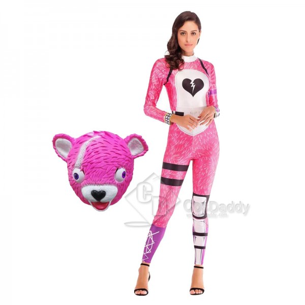 Fortnite Cuddle Team Leader Pink Bear Cosplay Cost...