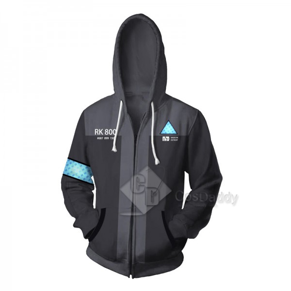 Detroit Become Human 3D Printed Hoodie Zipper Jack...