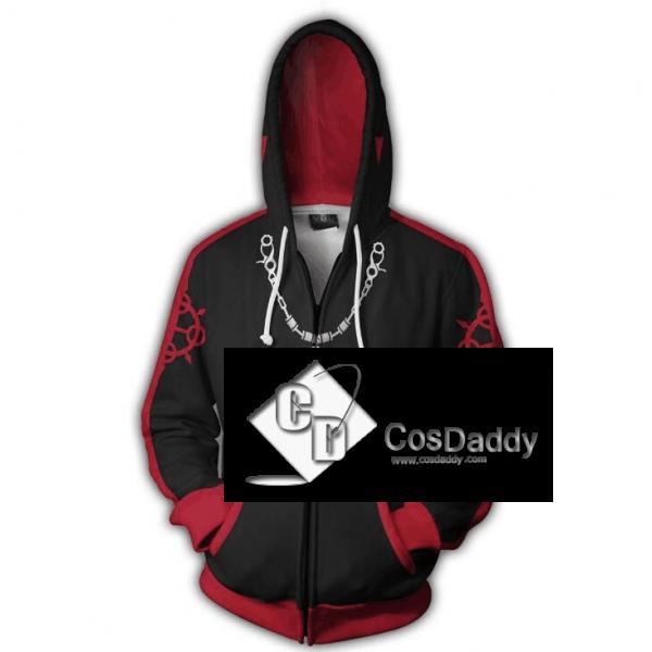 Kingdom Hearts Axel Cospaly 3D Printed Hoodie Zipper Sweatshirt