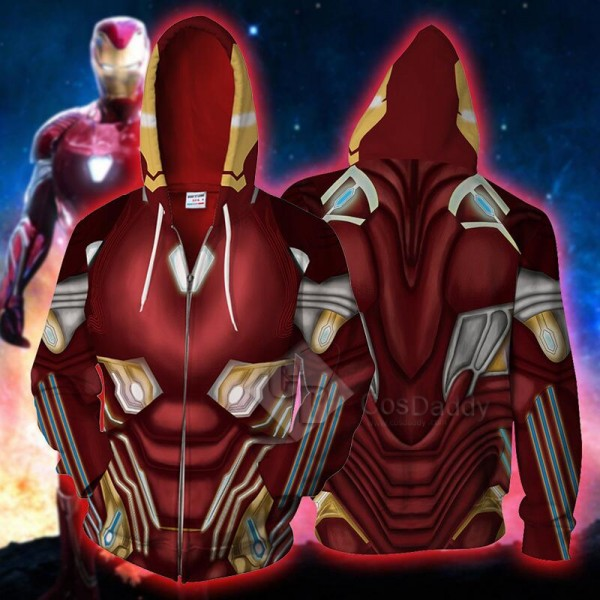Tony Stark Iron Man Hoodie 3D Printed Zipper Sweatshirt
