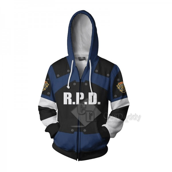 Resident Evil 2 Remake Biohazard Re:2 Leon Scott Kennedy 3D Printed Zip Hoodie Sweatshirt