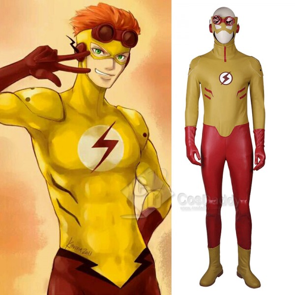 Young Justice Kid Flash Wally West Jumpsuit Mask C...