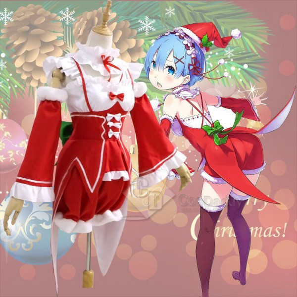 Re: Life in a different world from zero Rem Remu Christmas Dress Cosplay Costume