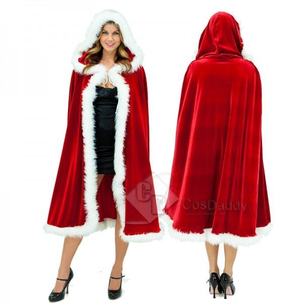 Christmas Adult Ladies Miss Santa Claus Fancy Dress Cosplay Costume Red Cloak Cape