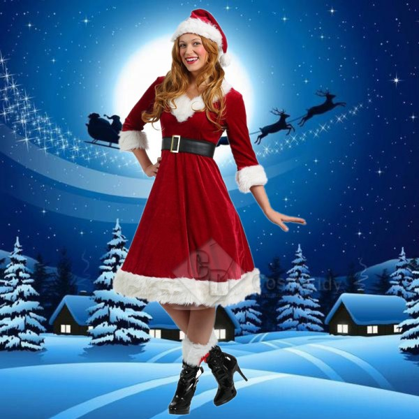 Miss Santa Claus Women's Party Dress Christmas Cos...