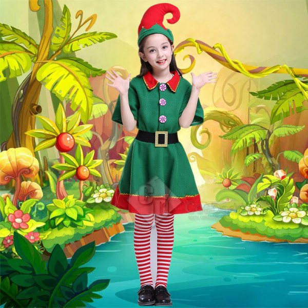 Toddler Holiday Christmas Elf Performance Costume