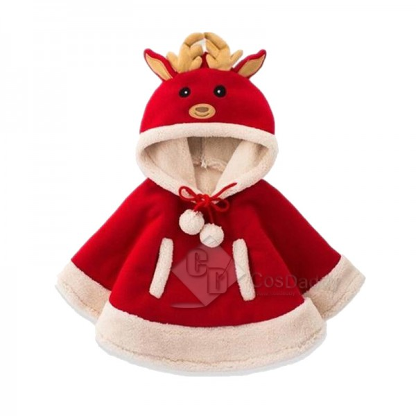 Christmas Reindeer Fancy Cloak Kids Outfit Costume