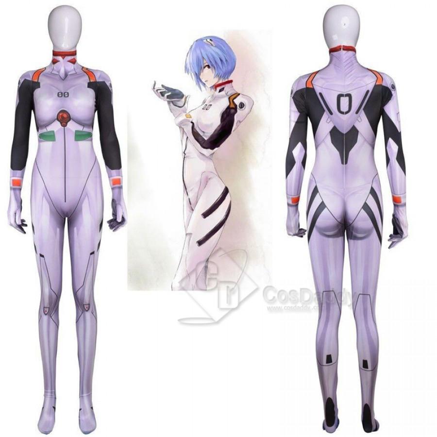 Rei Ayanami Jumpsuit Costume White Bodysuit Neon Genesis Evangelion EVA