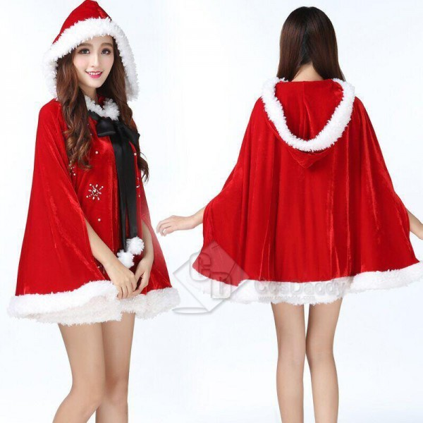Christmas Womens Adult Mrs Santa Claus Red Hooded ...
