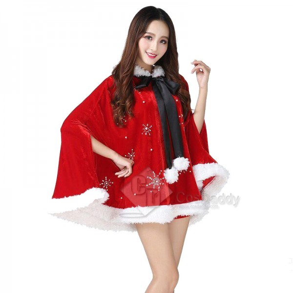 Christmas Womens Adult Mrs Santa Claus Red Hooded Cloak Cape