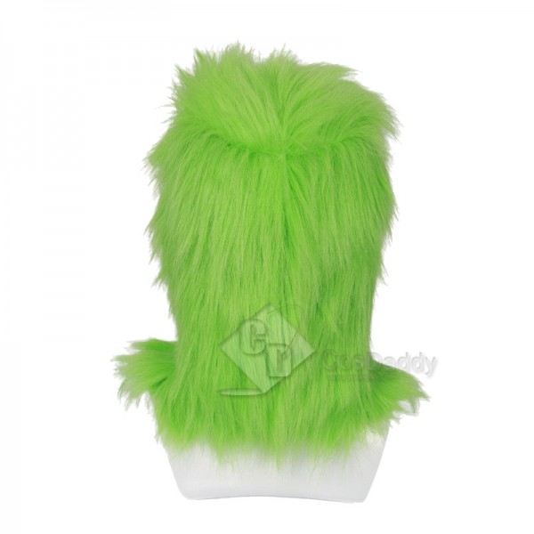 How the Grinch Stole Christmas Grinch Santa Full Head Mask with Fur Helmet Cosplay Costume