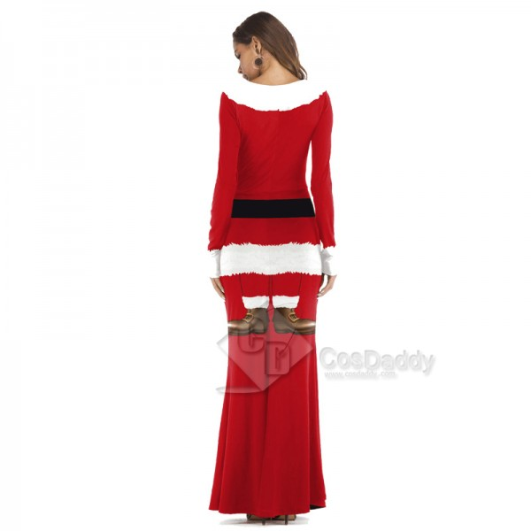 Women Christmas Santa Claus Costume Cosplay 3D Printed Party Long Dress