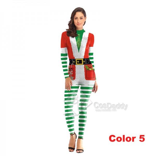 3D Graphic Print Women Jumpsuit Christmas Bodysuit Santa Claus Cosplay Costume