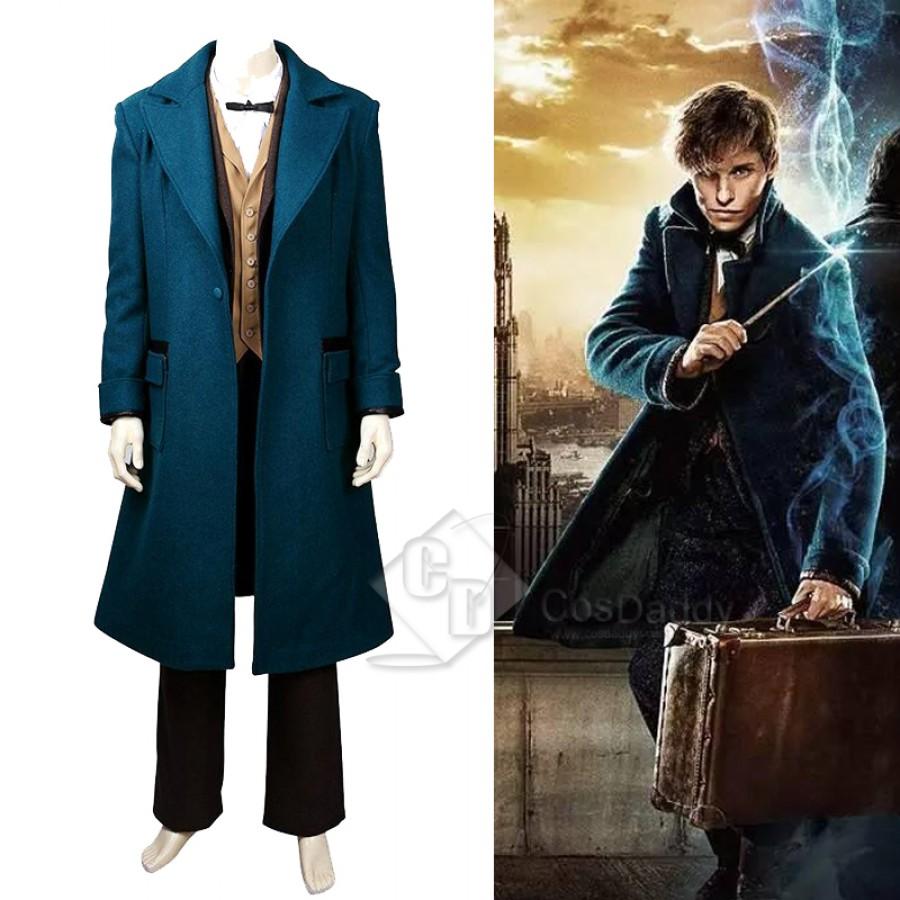 Newt Scamander Cosplay Costume Fantastic Over Coat Suit Blazer Pants Vest Shirt