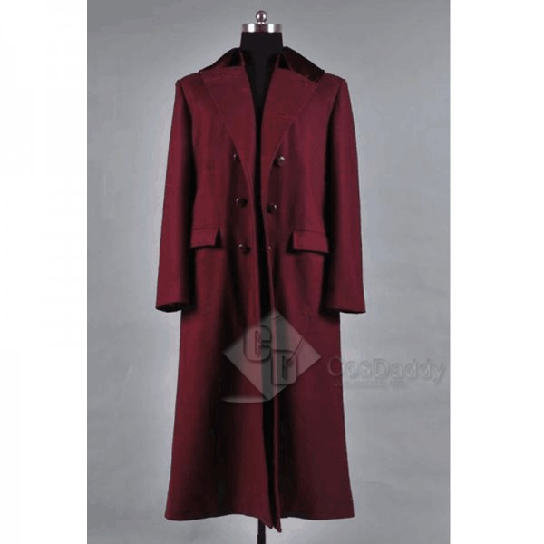 Doctor Who 4th Doctor Plum Red Long Trench Wool Co...