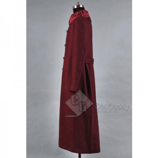 Doctor Who 4th Doctor Plum Red Long Trench Wool Coat Cosplay Costume