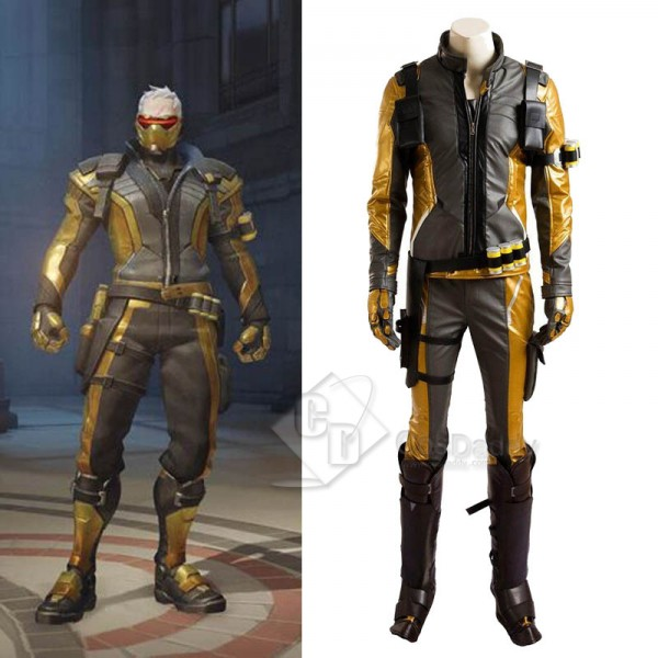 Overwatch OW Soldier 76 Cosplay Costume Gold Versi...