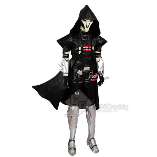 Overwatch Reaper Gabriel Reyes Cosplay Black Battle Suit Costume