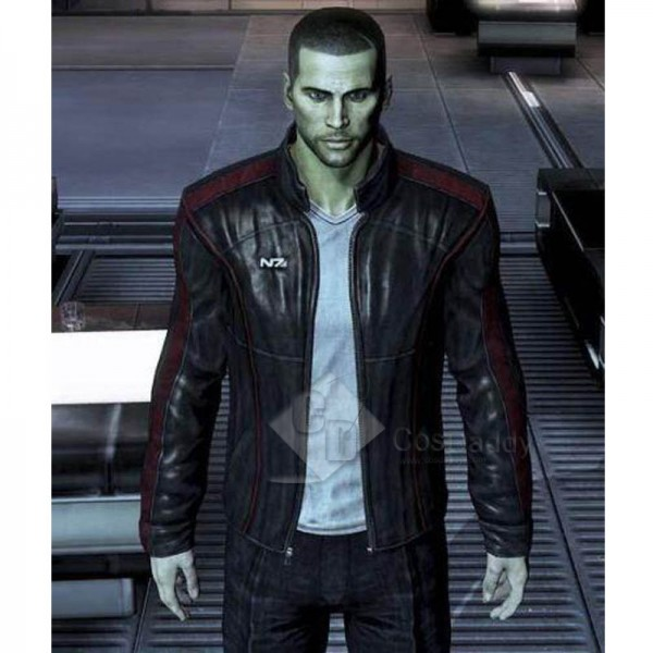 Game Mass Effect 3 John·Shepard N7 Leather Jacket Cosplay Costume