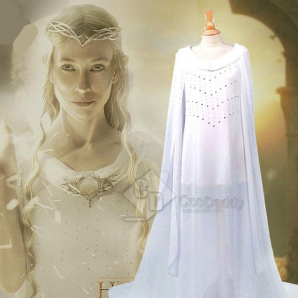 The Hobbit Galadriel White Long Dress Cosplay Cost...