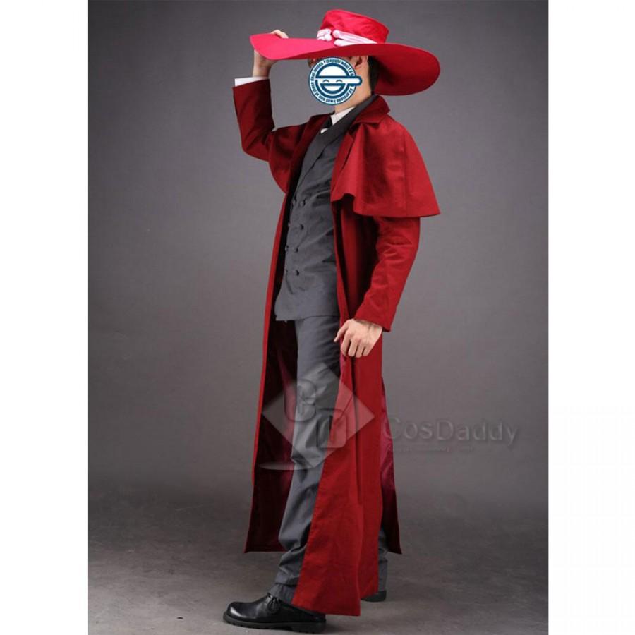 Hot !Anime Hellsing Alucard Cosplay Costume Set Vampire Hunter Uniform