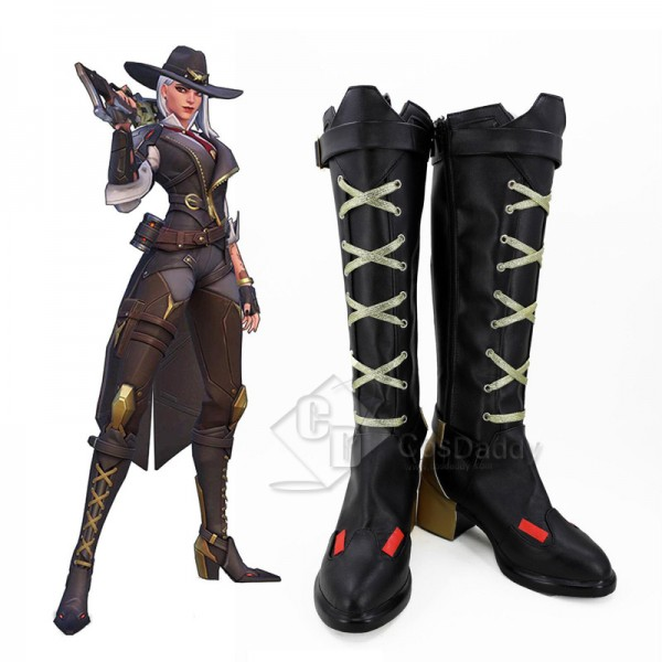 Overwatch OW Ashe Cosplay Shoes Long Boots
