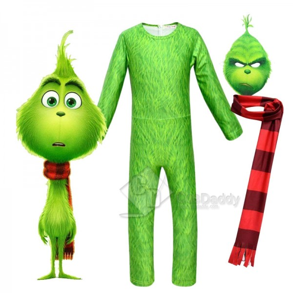 The Grinch Cosplay Costume Kids Jumpsuit Halloween...
