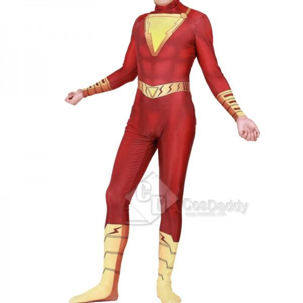 Shazam Billy Batson Captain Marvel Cloak Jumpsuit Cosplay Costume