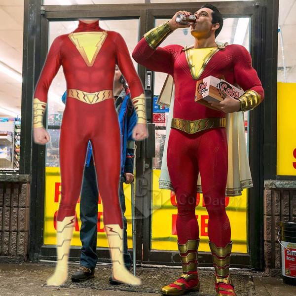 Shazam Billy Batson Captain Marvel Cloak Jumpsuit ...