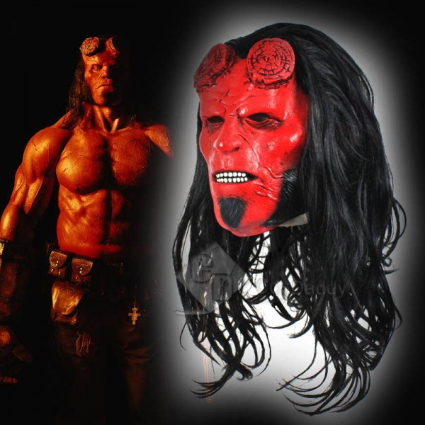 Hellboy: Rise of the Blood Queen Hellboy Mask Wig ...