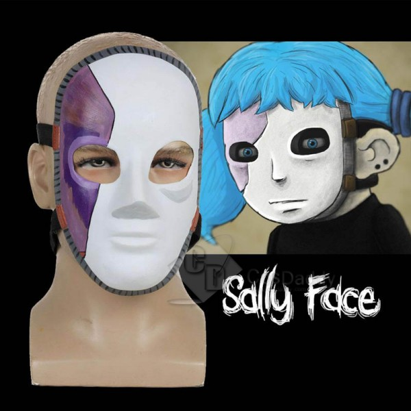 Game Sally Face Mask Cosplay Props White and Purpl...