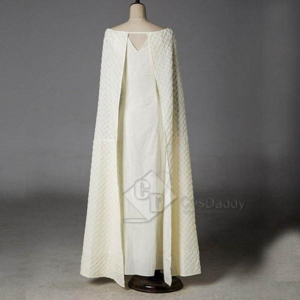 Game of Thrones Queen Daenerys Targaryen White Long Dress Cape Cosplay Costume