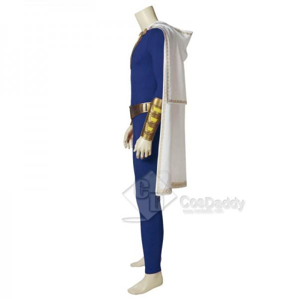 Shazam! Captain Marvel Billy Batson Blue Version Jumpsuit Cape Cosplay Costume