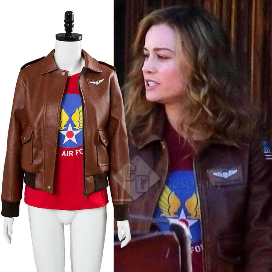 Captain Marvel Carol Danvers U S Air Force T Shirt Bomber Jacket Cosplay Costume The many costumed identities of carol danvers. captain marvel carol danvers u s air