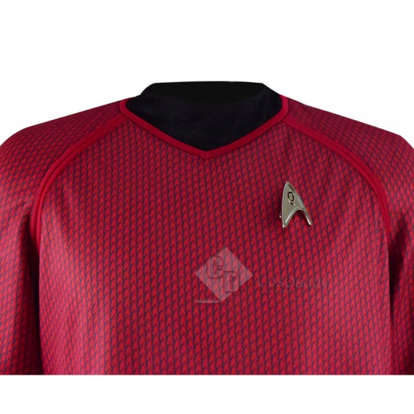 Star Trek Into Darkness Spock Red Man's Uniform T-shirt Cosplay Costumes