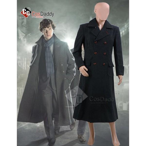 Sherlock Holmes Cape Coat Cosplay Costume Wool Ver...
