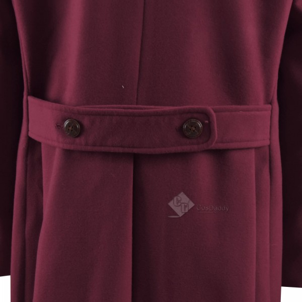 Doctor Who fourth 4th Doctor Burgundy Long Trench Wool Coat Cosplay Costume