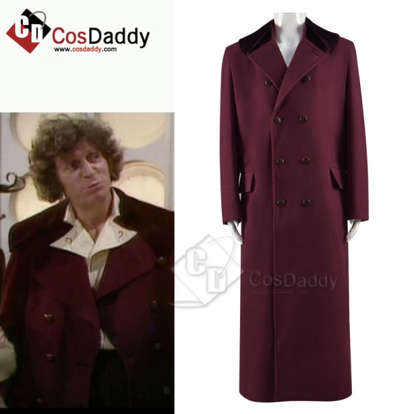 Doctor Who fourth 4th Doctor Burgundy Long Trench ...