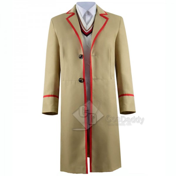 Doctor Who fifth 5th Dr Red Stripe Beige Coat Cosplay Costume