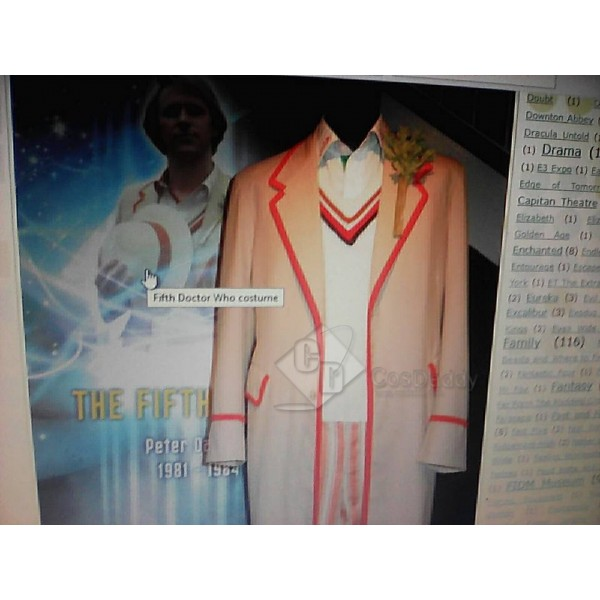 Cosdaddy Doctor Who fifth 5th Beige Coat Cosplay Full Set Costume