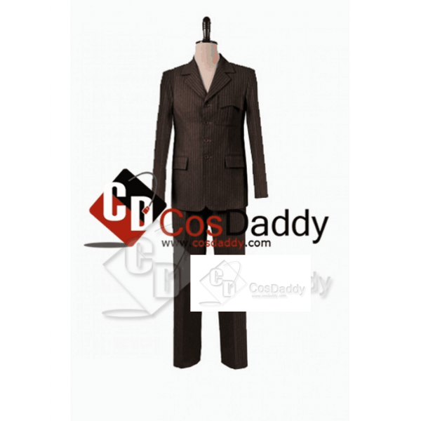 Doctor Who Ten 10th Doctor Brown Pinstripe Wool Trousers Cosplay Costume