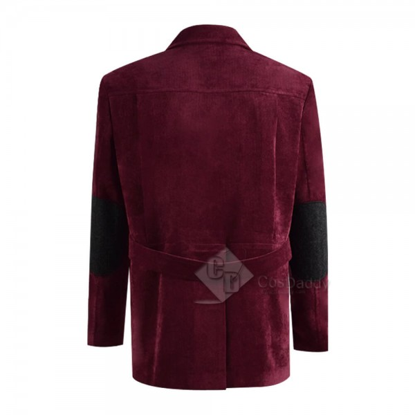 Doctor Who Fourth 4th Doctor Tom Baker Dark Red Corduroy Jacket Coat Cosplay Costume