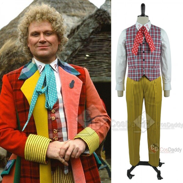 Doctor Who sixth 6th Doctor Colorful Lattice Suit Cosplay Costume