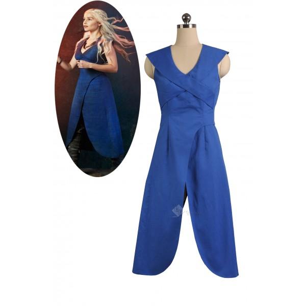 Game of Thrones Queen Daenerys Targaryen Cosplay  Blue Long Dress Costume