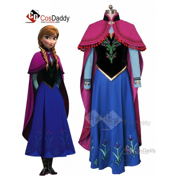 Frozen Princess Anna Dress Cloak Cosplay Costume