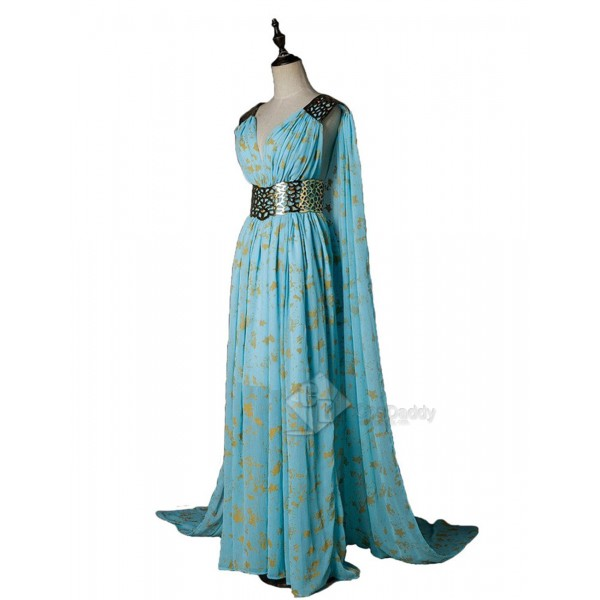Game of Thrones Queen Daenerys Targaryen  Cospaly Blue Long Dress+Cape Costume